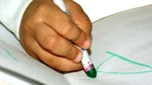 Child Writing with Crayon